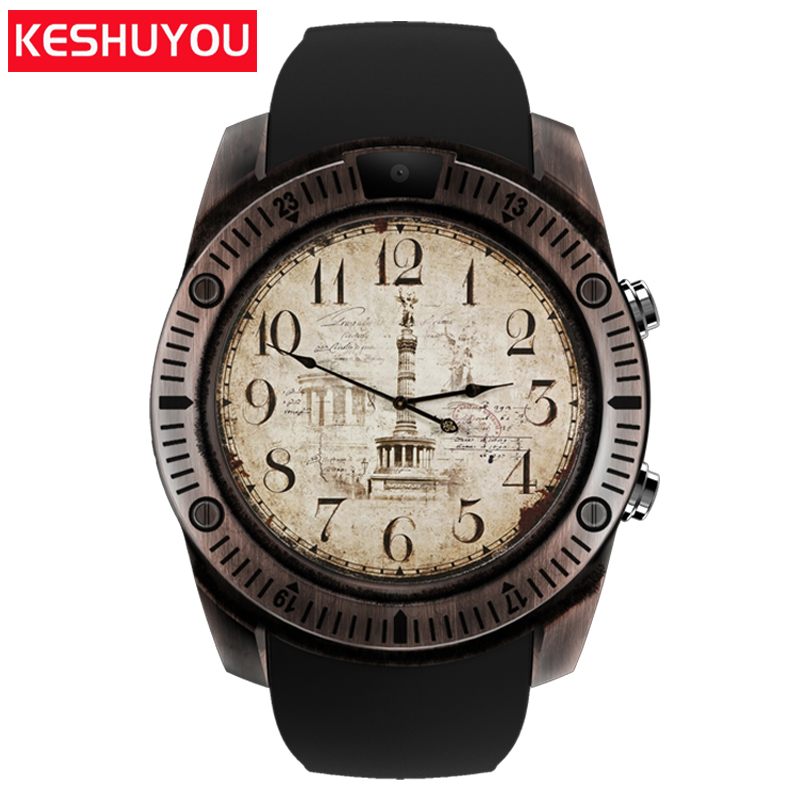 Galleria fotografica KESHUYOU KY03 passometer Vintage intelligente watchs uomini camera <font><b>smartwatch</b></font> android dispositivi indossabili Per Il telefono android Samsung HUAWEI