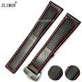 ZLIMSN 22mm Rojo o Negro cosido Negro correas de Reloj correa Para TAG hes Watc Accesorios de Moda 100% cuero Genuino