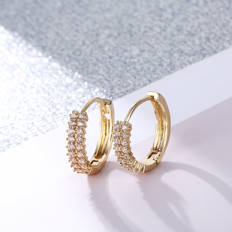 CARSINEL Brand Fashion Gold Color Round Small Hoop Earrings For Women Cubic Zircon Stone Earrings Wedding Brides Jewelry ER0545