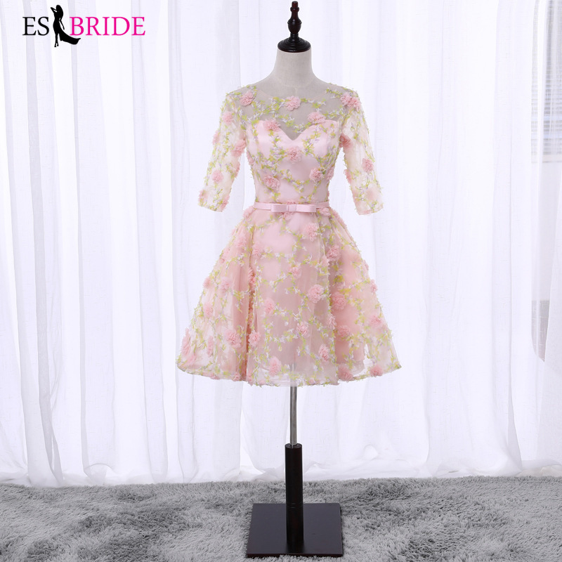 Pink New Arrival Ladies Short Evening Dresses 2019 Elegant Lace Appliques Plus Size Formal Gowns A-line Robe De Soiree ES2654