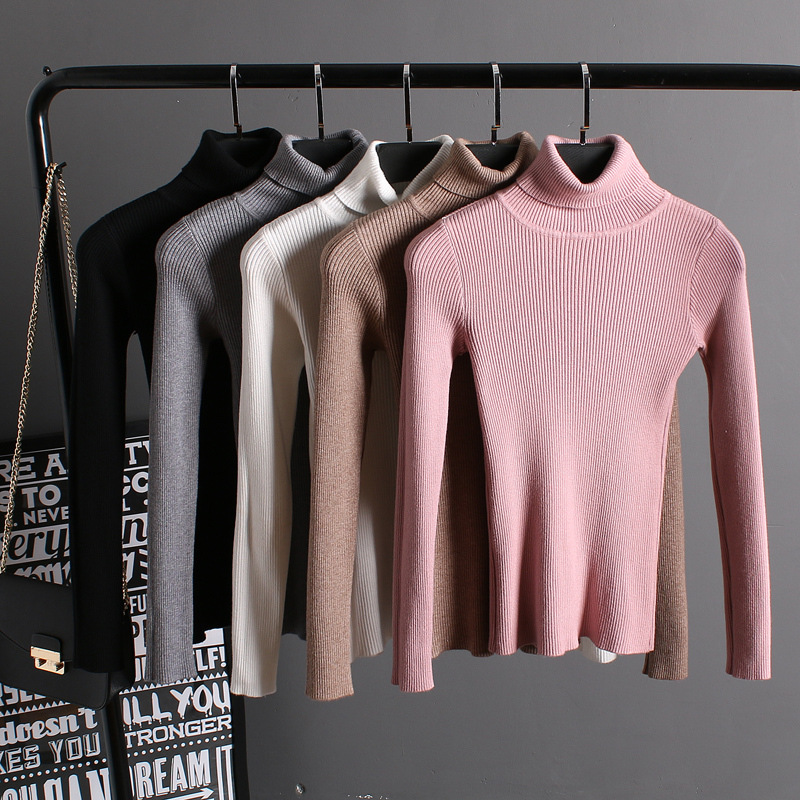 mujeres de otoño de alta elástico camisa de punto jersey de hilo sólido breve j