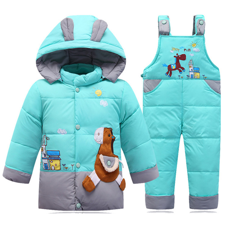 2017 Winter Baby Boys Girls Duck Down Jacket Children Set Hooded Infant Down Jackets Kids Coat Outerwear Boy Girl Clothing
