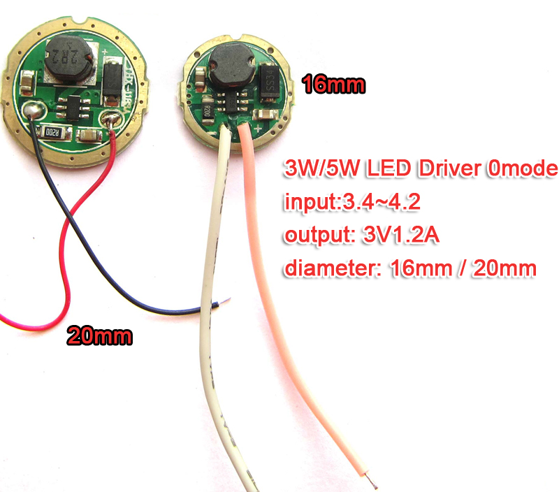 3W 5W LED Driver Input 1.5v~4.2v Output 3v 1.2A(max) 20mm / 16mm For Cree 3W XPE R3 XRE Q5 / 5W XPG2 XTE R5 Flashlight