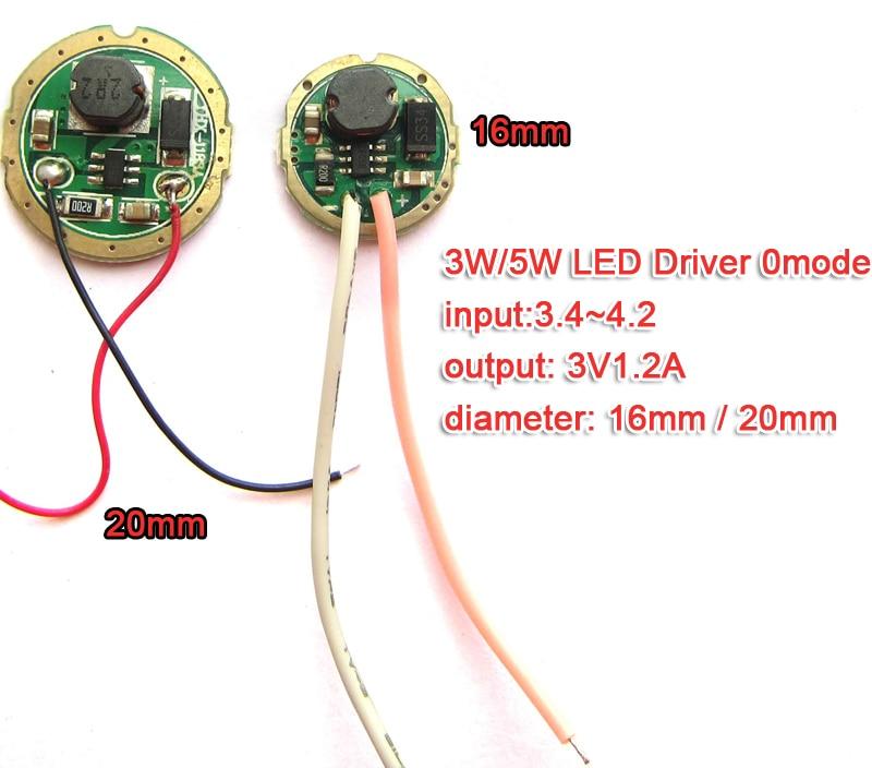 3W 5W LED Driver Input 1.5v~4.2v Output 3v 1.2A(max) 20mm / 16mm For Cree 3W XPE R3 XRE Q5 / 5W XPG2 XTE R5 Flashlight