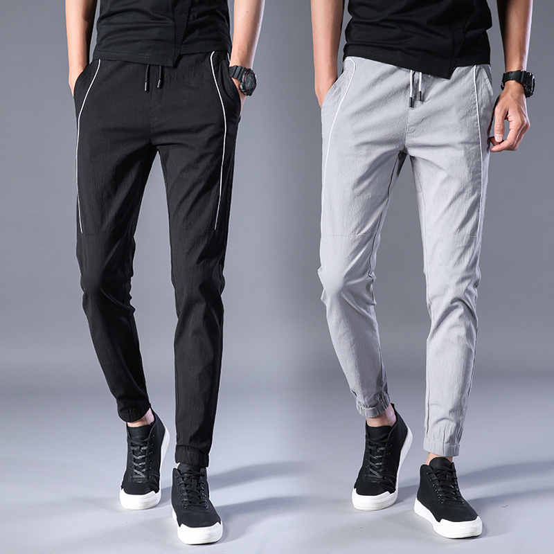 Spring Summer New Design Brand Clothing Men Casual Pants Joggers Black Cargo Pants Splic ...