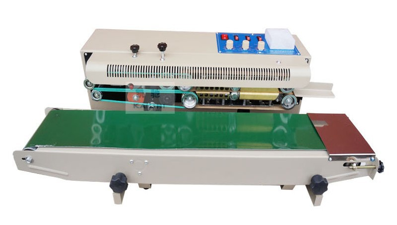 continuous sealing machine automatic plastic film packag machine Additional features ink wheel colored printing date FR-1000 automatic bag sealing machines