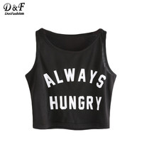 Dotfashion Black Slim Tank Top Casual Letter Print Brief Sexy Summer Crop Tops 2017 New Fashion O Neck Basic Short Tank