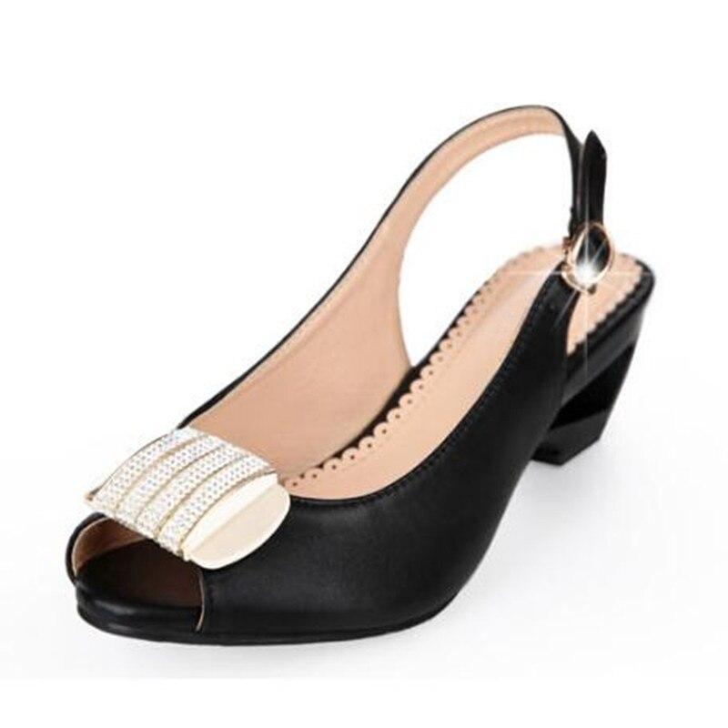Confortables En Chaude Mode Noir Arc Grande Strass Coins Chaussures Taille Femmes Sandales 2018 Nouveau Cuir Véritable blanc Femme OwIw1S