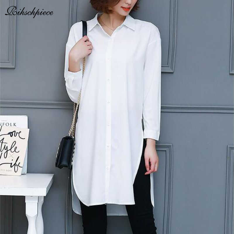Rihschpiece Long Plus Size 5XL Blouse Women Tops and Blouses White Vintage Office Black Oversize Laides Shirts RZF1494