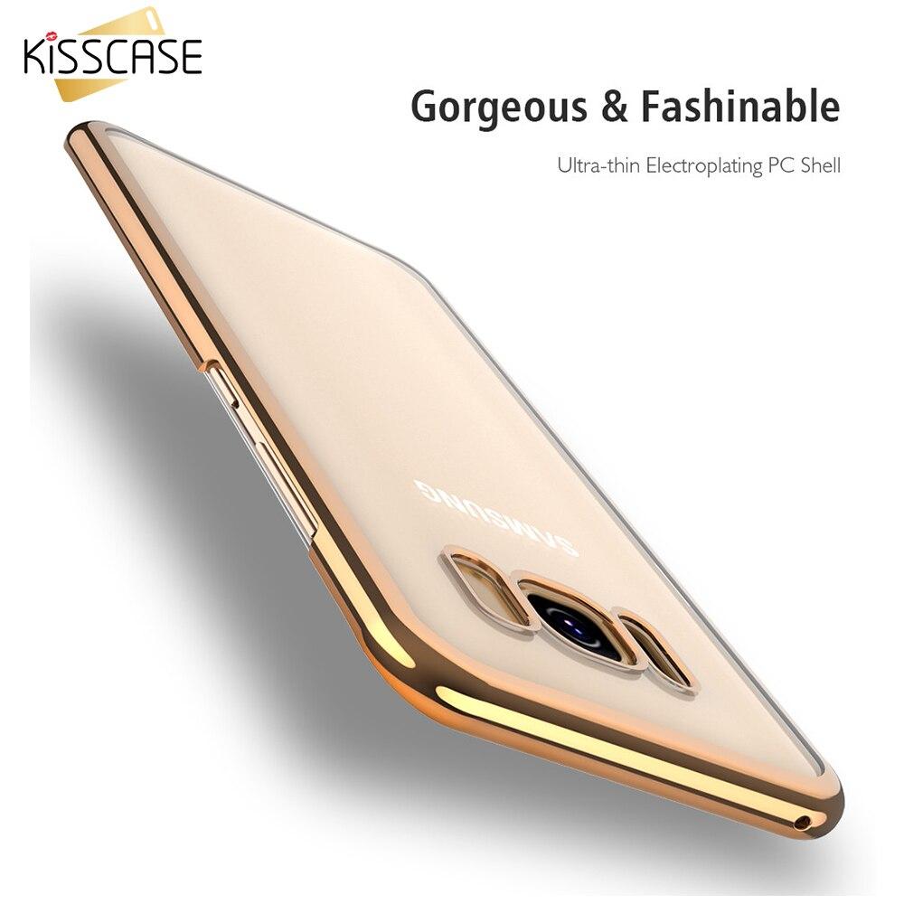 KISSCASE Para Samsung Caso de la Galjanoplastia de Lujo Transparente Dura Del Te