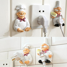 Creative Lovely Cartoon Chef Strong Storage Rack Hook Wall Decor Plug Holder
