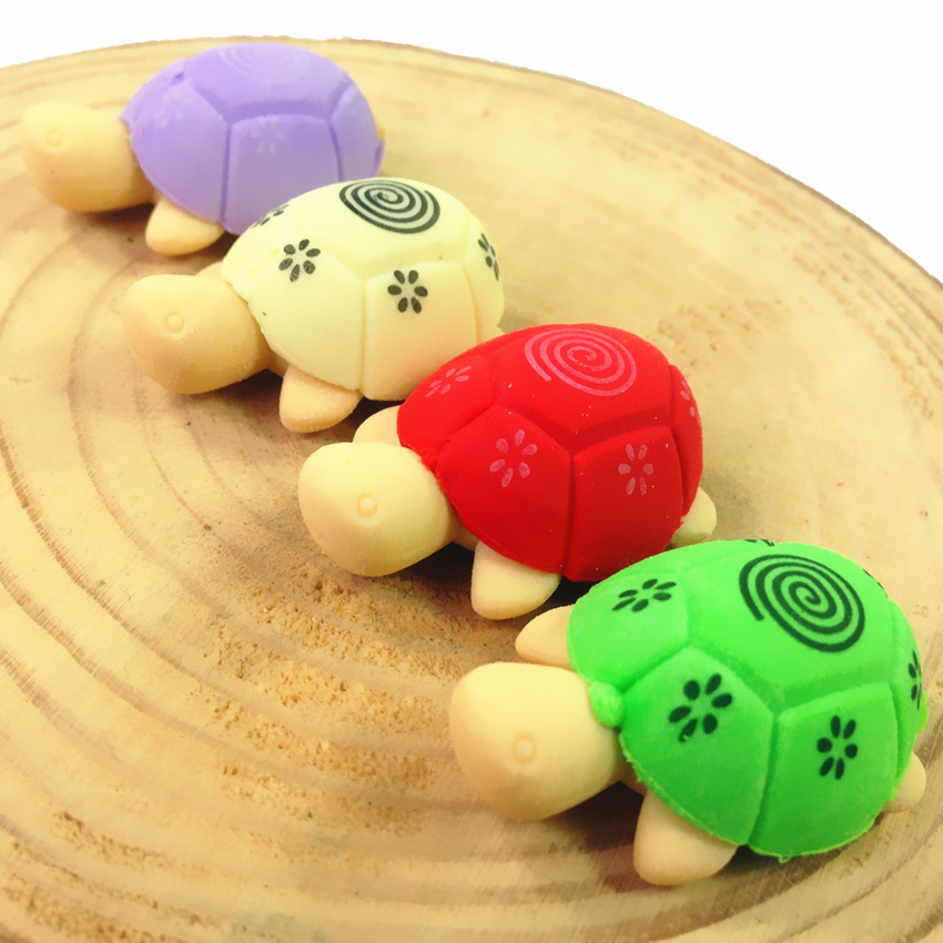2pcs/pack/lot Kawaii Color Little Turtle Design Nontoxic Demountable Mini Eraser Students' Toy Decoration Tools Rubber Erasers