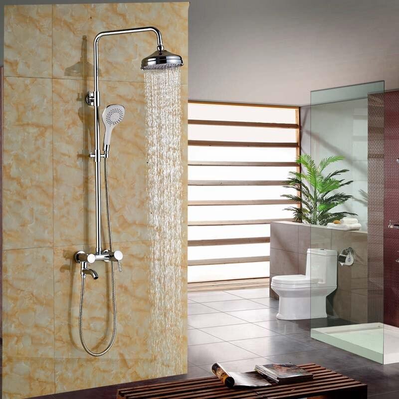 Modern 8 Brass Rain Shower Faucet Set Wall Mount Bathroom Outdoor Bath Shower Mixer Tap wall mount single handle bath shower faucet with handshower antique brass bathroom shower mixer tap