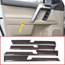 4 шт черный текстура древесины Car ABS межкомнатных дверей украшения Панель отделкой для Toyota Land Cruiser Prado FJ150 150 2010-2018 аксессуары