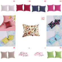 1/2Pcs Flower Pillow Cushions For Sofa Couch Bed 1/12 Dollhouse Miniature Colorful Furniture Toys New(China)