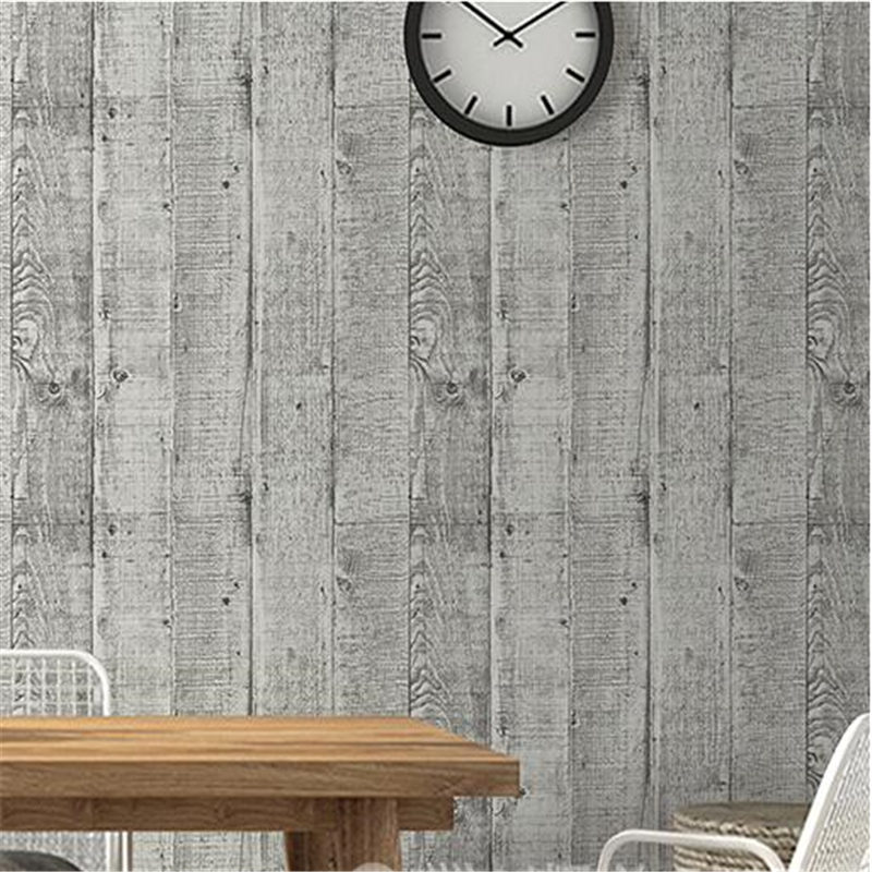 beibehang High-grade imitation wood grain wallpaper Vintage nostalgia wood plank striped cafe bar sofa background wall paper vintage wood grain flannel skidproof rug