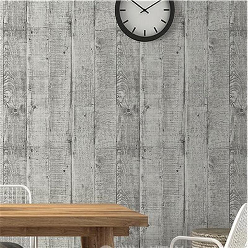 beibehang High grade imitation wood grain wallpaper Vintage nostalgia wood plank striped cafe bar sofa background wall paper