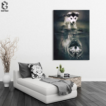 Dog Wolf Canvas Painting Figure Picture Wall Art Abstract Fantastic Poster and Prints for Living Room Home Decor