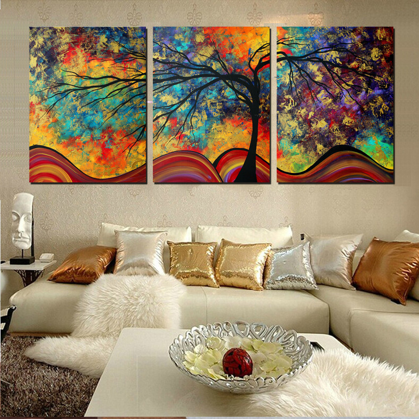 Large wall art home decor abstract tree painting colorful landscape paintings canvas picture for - Wall paintings for living room ...