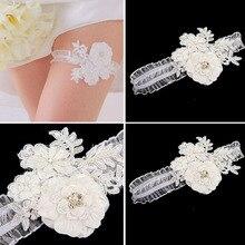 Ladies Leg Flower Garter With Crystals Bead Bridal Wedding Party Ornament jw004