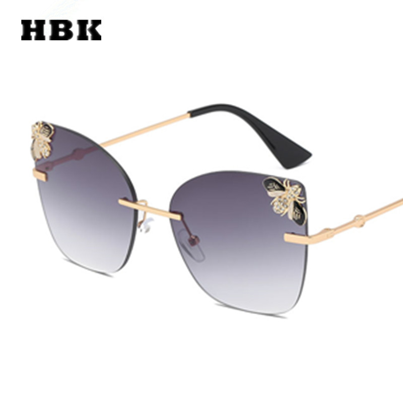 HBK Cat Eye Rimless Modis Sunglasses Bee Oculos Big