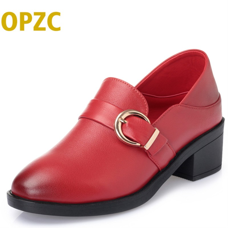 OPZC Women shoes big size 41#42#43 # 2018 autumn new women's genuine leather shoes formal dress wedding shoes female aiyuqi big size 41 42 43 women s comfortable shoes 2018 new spring leather shoes dress professional work mother shoes women