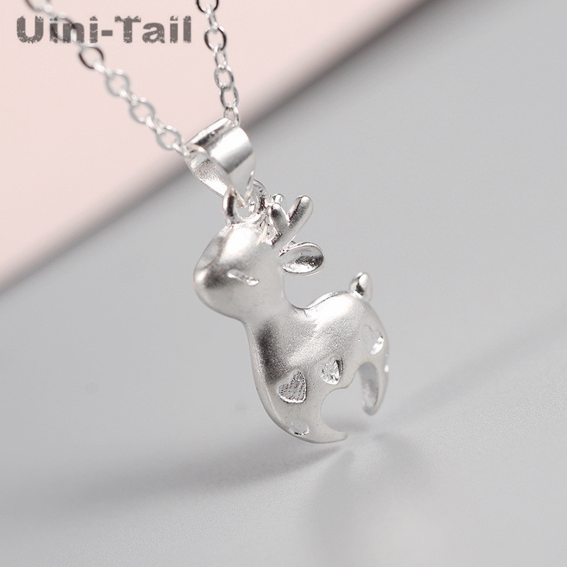 Uini-Tail hot new 925 sterling silver Korean fashion stereo heart-shaped deer necklace tide flow cute sweet jewelry GN958
