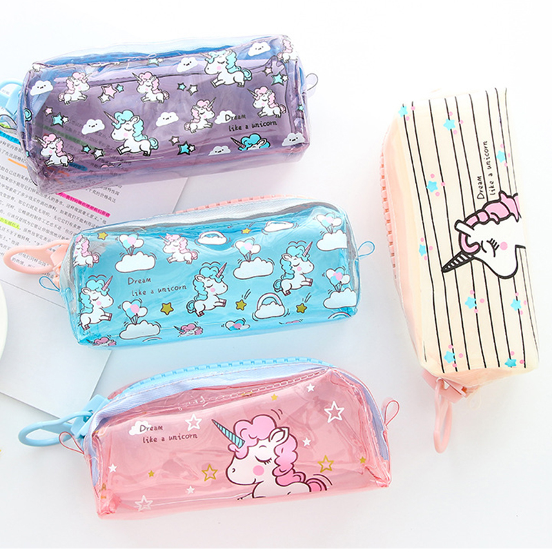Transparent Unicorn Pencil Case Big Zipper Capacity School Pencil Bag Storage Pouch Pen Box School Supplies Stationery Gift