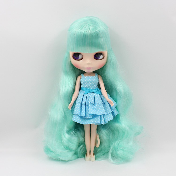 Mint Mixed Long Hair with bangs Nude Doll Suitable For DIY Change Toy For Girls 136/4268 purple curly long hair with bangs normal body nude doll suitable for change diy 280bl732 117