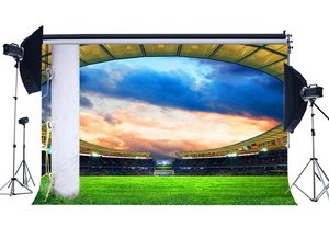 Image 1 - Football Field Backdrop Stadium Stage Lights Crowd Green Grass Meadow White Pillars Sports Match Photography Background