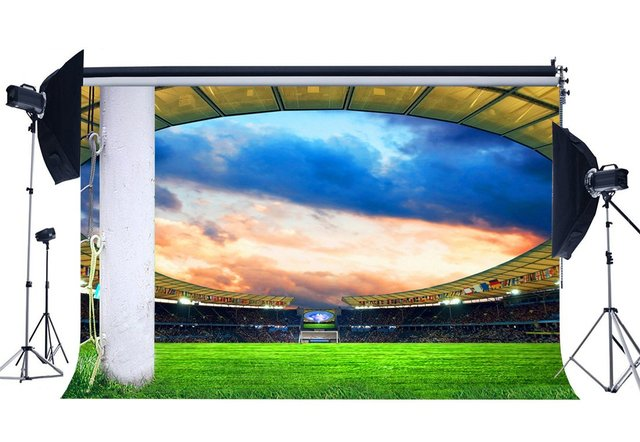 Football Field Backdrop Stadium Stage Lights Crowd Green Grass Meadow White Pillars Sports Match Photography Background