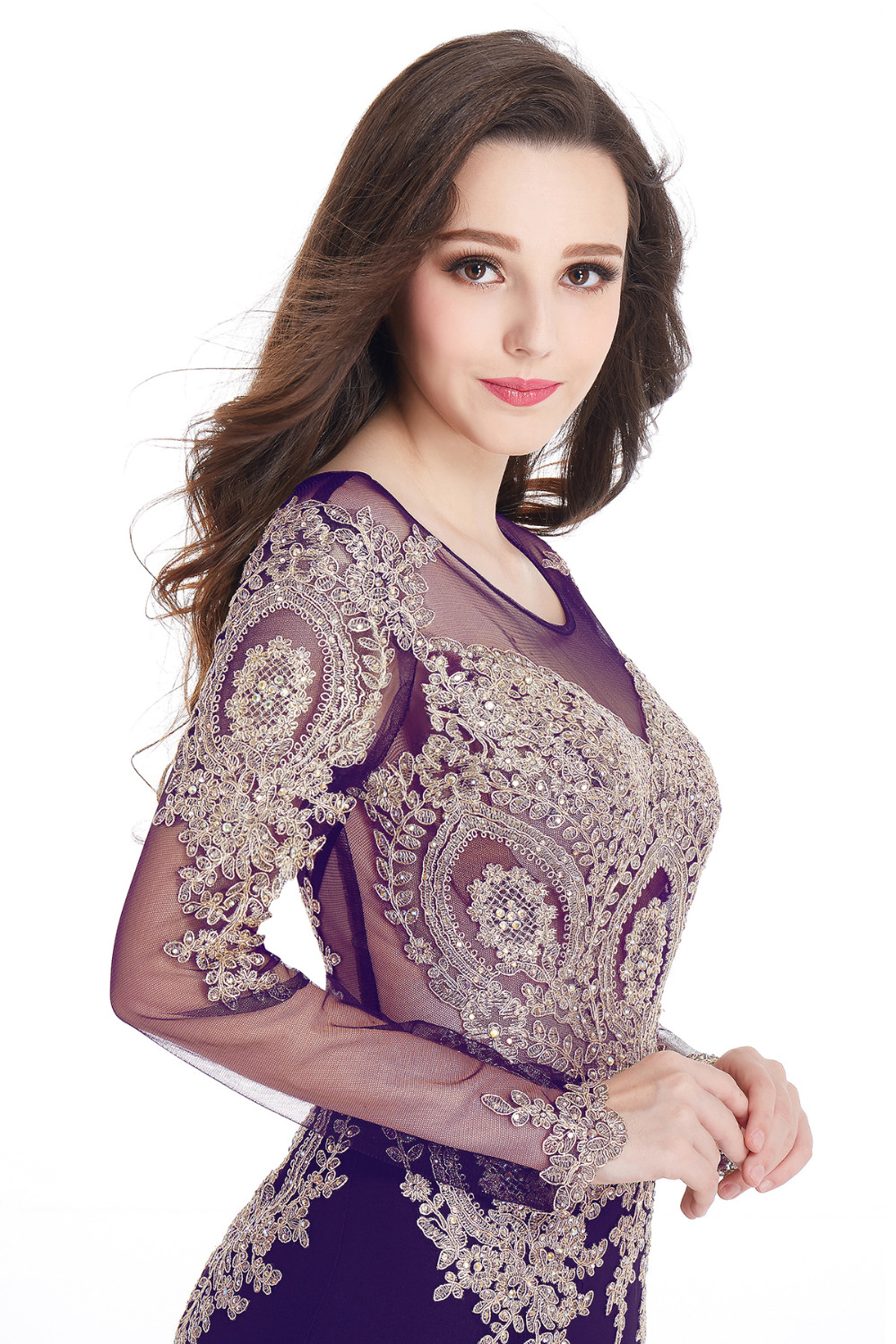 Real Image Cheap Burgundy Long Sleeve Mermaid Lace Prom ...