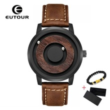 Brand EUTOUR Magnetic Wood Watch Men 2019 Luxury Stainless Steel Fashion Casual Man Quartz Waterproof Leather Wrist