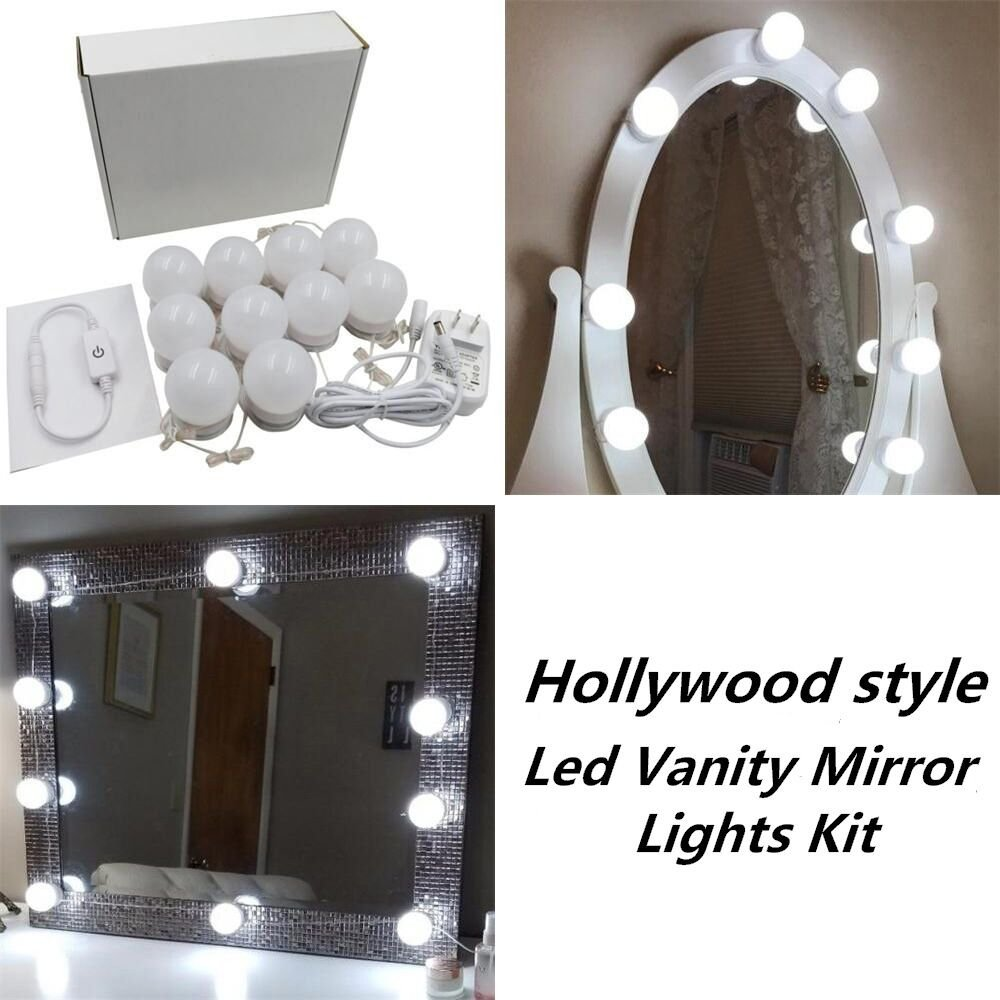 Wall Lamps 6 10 14pcs Makeup Mirror Vanity Led Light Bulbs Kit Us Eu Uk Adapter Sconce Lamp For Dressing Table Mirror 12v Stepless Dimmable Lights & Lighting