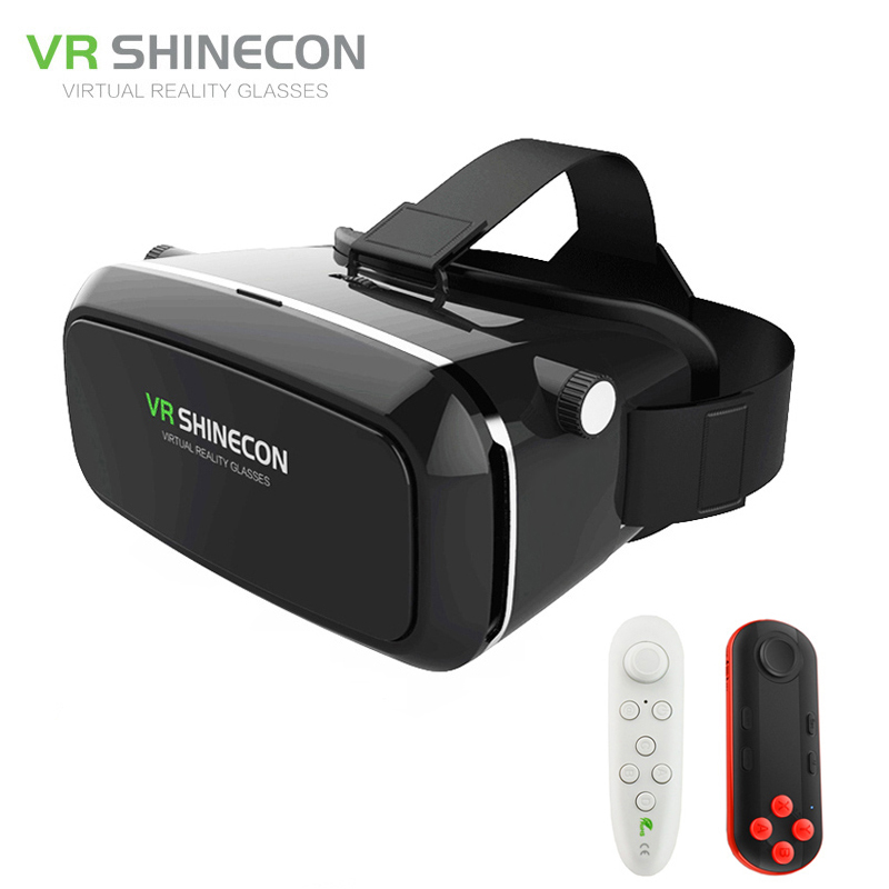 Shinecon VR 3D Glasses Google Cardboard Virtual Reality Smartphone VR Headset Cardboard For Android With Controller From Russian original vr virtual reality 3d glasses box stereo vr google cardboard headset helmet for ios android smartphone bluetooth rocker