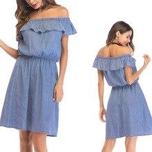 Sexy Off Shoulder Ruffles Denim Jeans High Waist Slimming Women Tunic Loose  Dress For 1b1022ec6