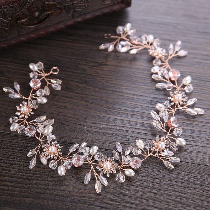 KMVEXO Gorgeous Rose Gold Wired Rhinestones Crystals Pearls Flower Wedding Headband Bridesmaid Bridal Hair Vine Hair Accessories цены онлайн