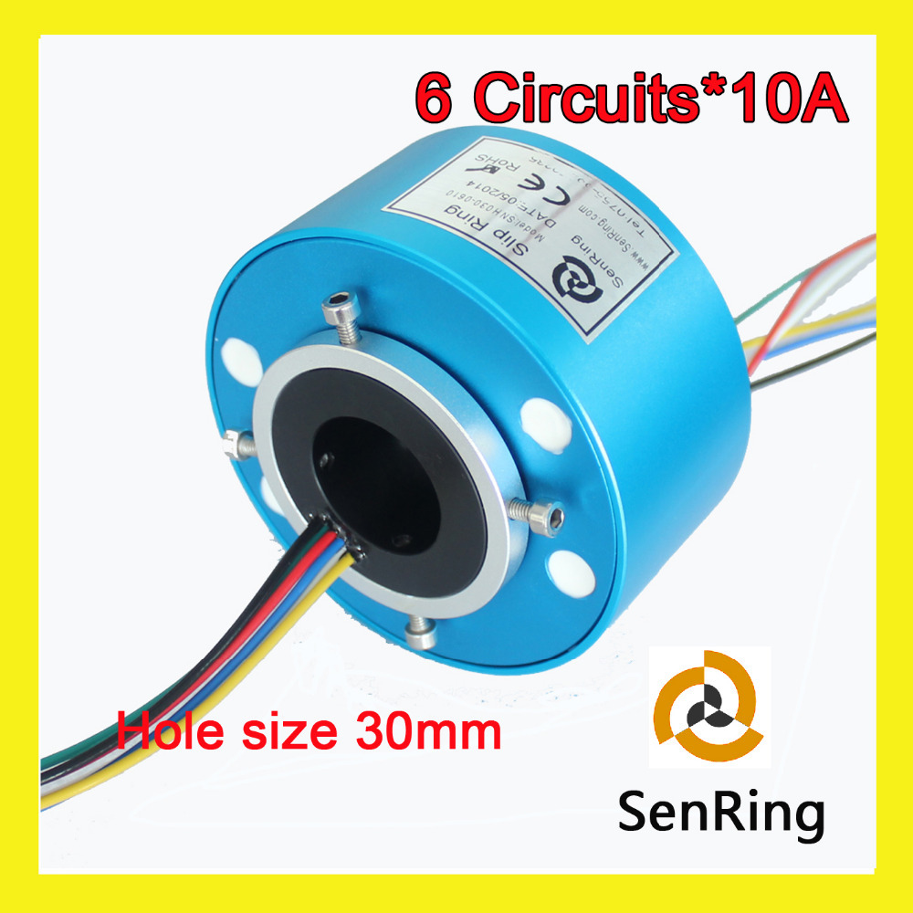 Rotary union joint slip ring 10A 6 circuits of bore size 30mm through hole slip ring