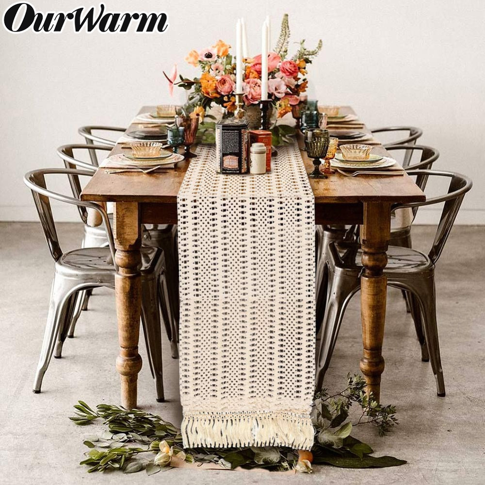 OurWarm Beige Crochet Lace Table Runner With Tassel Bohemian Wedding Decoration Table Runner Hollow Fringed Edges Tablecloth