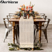 OurWarm Beige Crochet Lace Table Runner with Tassel Bohemian Wedding Decoration Hollow Fringed Edges Tablecloth