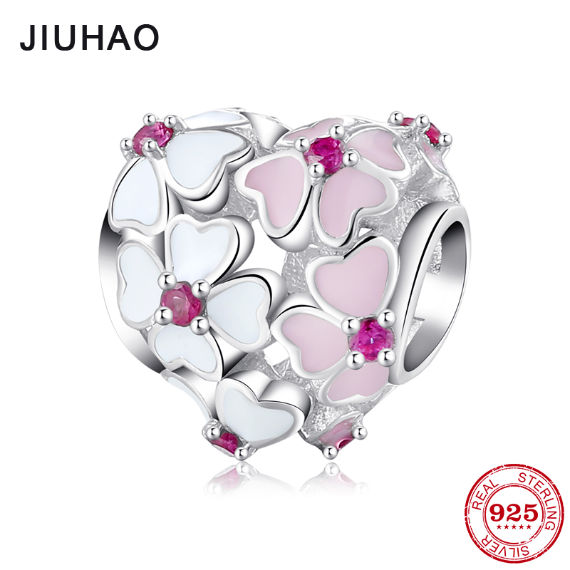 Real 925 Sterling Silver Heart pink Lucky flower beads diy for fashion Fit Original Pandora Charms Bracelet Jewelry making