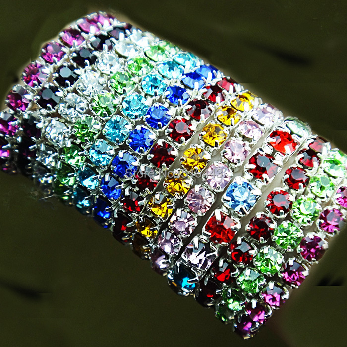 Summer Fashion Jewelry 24pcs Mix Color Czech Rhinestones Stretchy Silver Color Women Rings Toe Rings Wholesale Jewelry Lots A290 in Rings from Jewelry Accessories