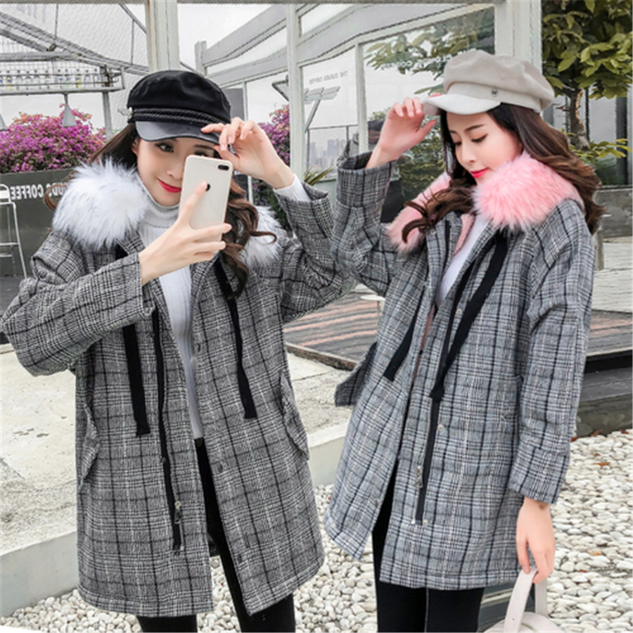 Manteau Long Grand Femmes Épais Velours Version white 2018 Agneau Plaid Fourrure Col Plus Coréenne De D'hiver Chaud Pink Nouveau Bqdx8Ba