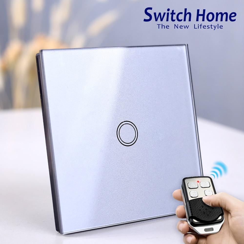 EU touch Wand licht schalter, Drahtlose Fernbedienung licht Schalter, glas panel 1/2/3 Gang 1 Weg Sensor touch wand licht schalter