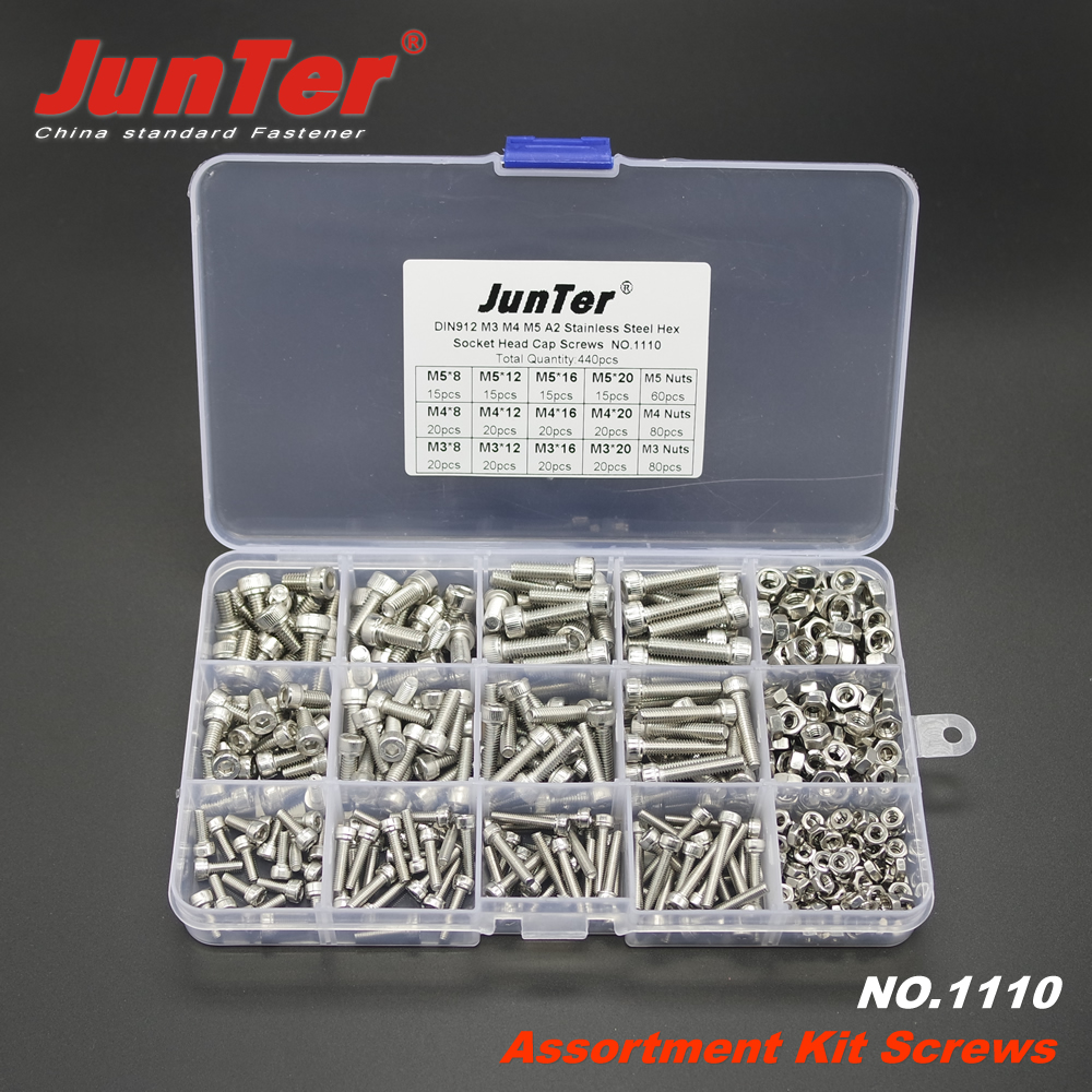 440pcs M3 M4 M5 A2 Stainless Steel DIN912 Allen Bolts Hex Socket Head Cap Screws With Nuts Assortment Kit NO.1110 50pcs lots carbon steel screws black m2 bolts hex socket pan head cap machine screws wood box screws allen bolts m2x8mm