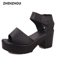 2015 Women S Summer High Heeled Shoes Thick Heel Open Toe Platform Sandals Platform Sandals White