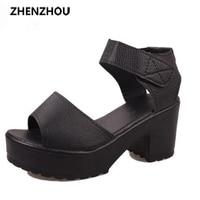 2015 Women S Summer High Heeled Shoes Thick Heel Open Toe Platform Sandals Platform Sandals White
