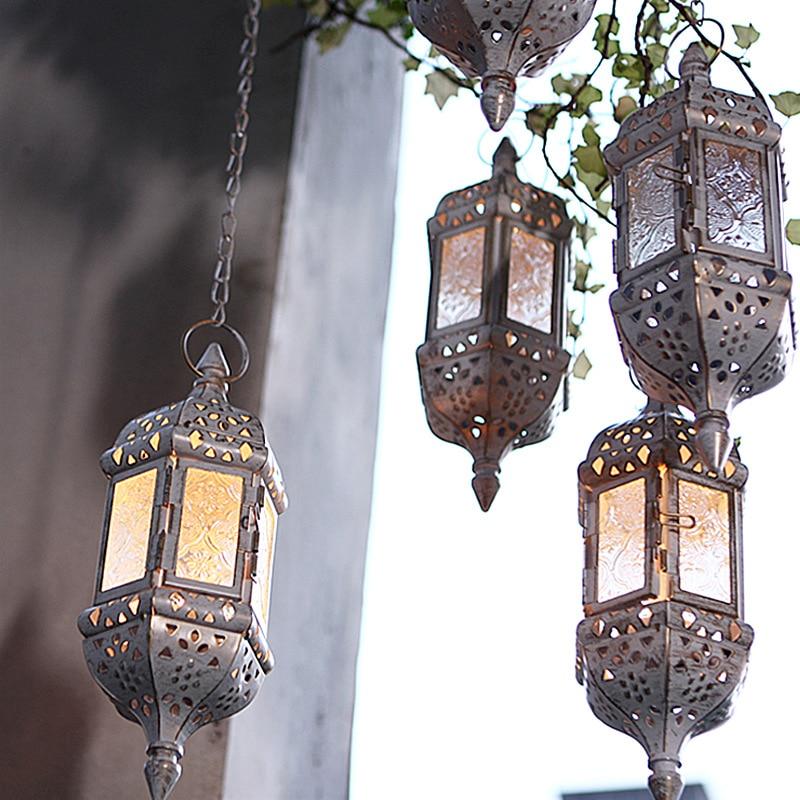 Morocco European Iron Hanging Candlestick OrnamentsWhite Brown Black Brush Gold Wedding Birthday Candle Holder Metal Wall Decor
