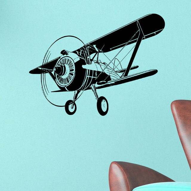Airplane Wall Sticker Biplane Silhouette Home Decor Removable Waterproof Decals Kids Room Nursery Living