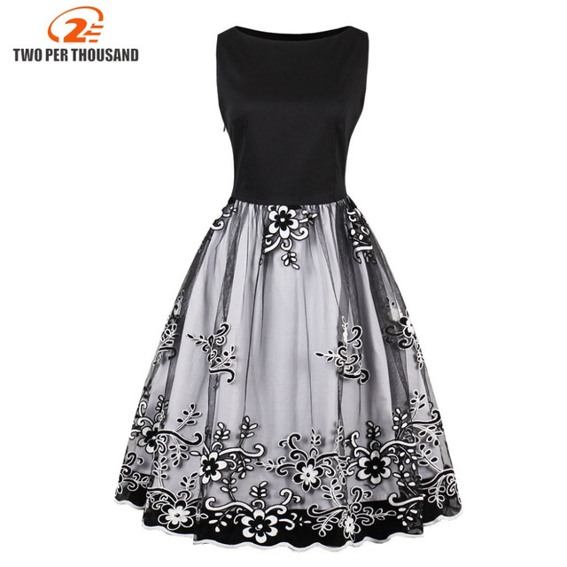 c2a6b3dbce1 Spring Women Gorgeous Vintage Floral Embroidery Midi Dress Mesh Dress Retro  1950s 60s Ball Gown Swing Dresses festa de vestidos